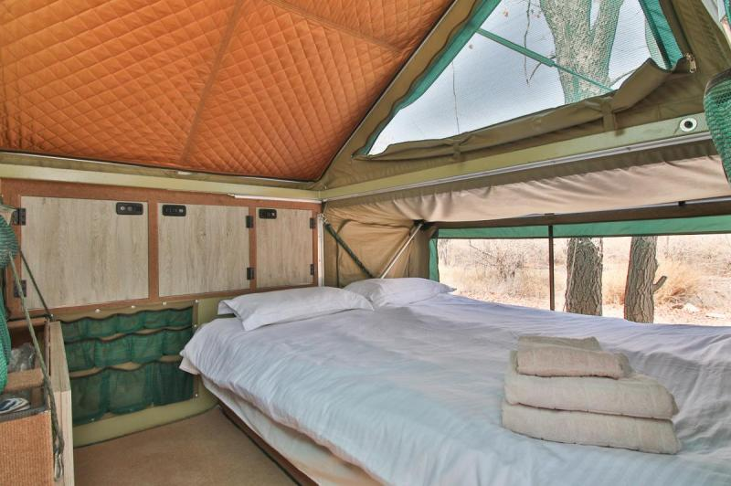 The Bushwakka Sundowner's Super comfortable double bed with a view