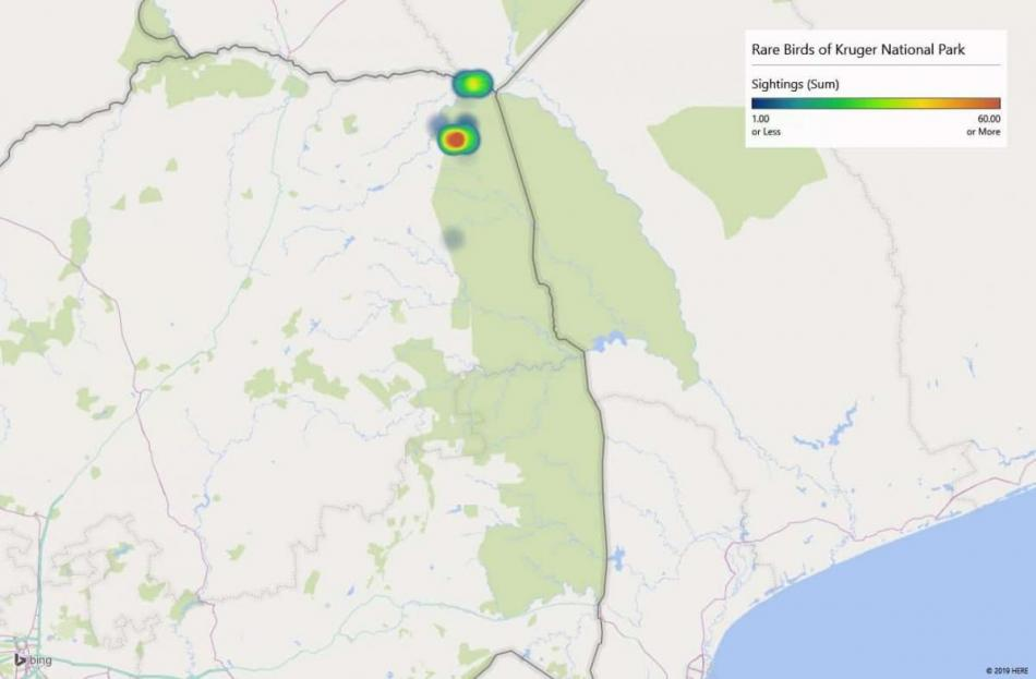 Heatmap of Arnot's chatsightings in Kruger National Park