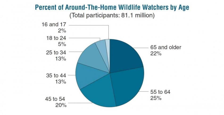 Percent of Around-The-Home Wildlife Watchers bu Age