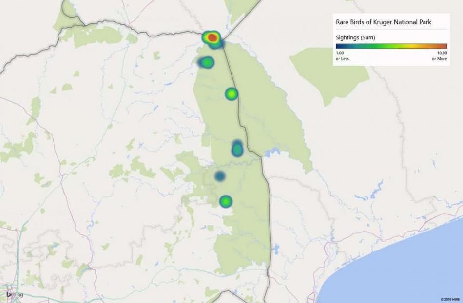 Heatmap of African Golden Oriolesightings in Kruger National Park