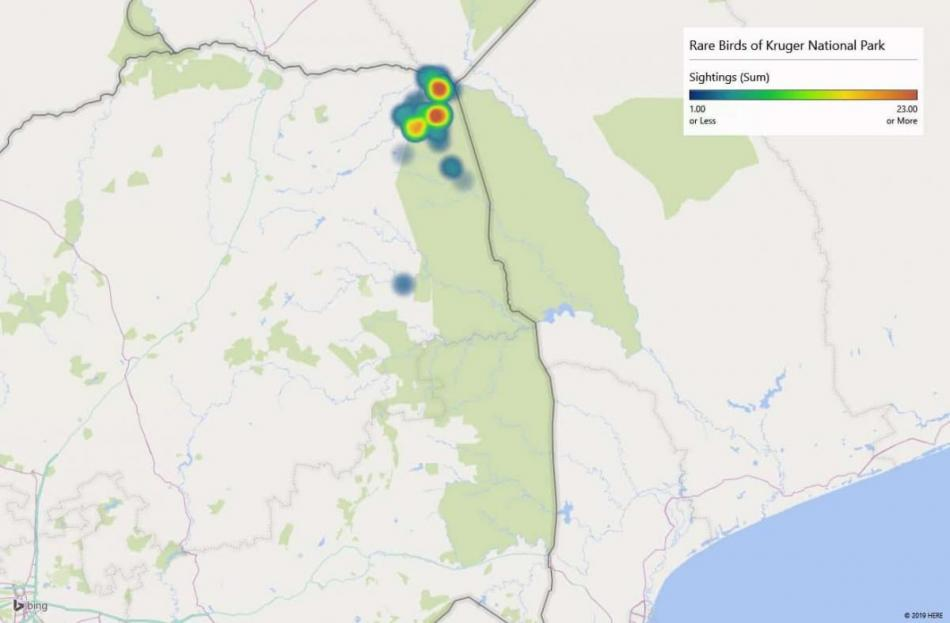 Heatmap of Dickinson's Kestrelsightings in Kruger National Park