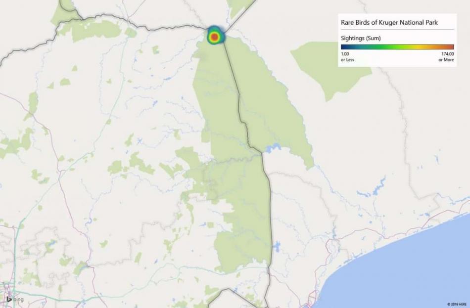 Heatmap of Böhm's spinetailsightings in Kruger National Park