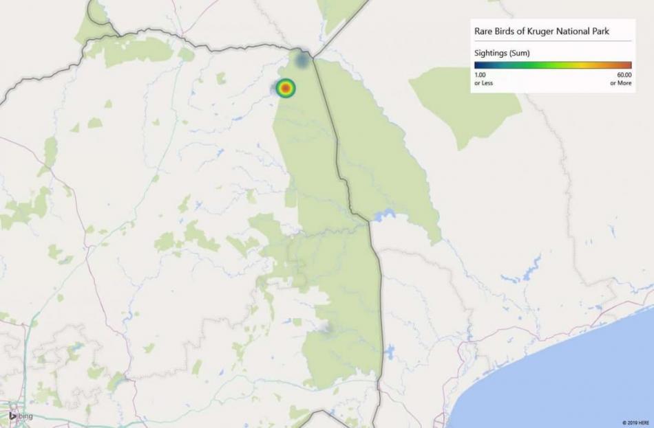 Heatmap of Orange-winged Pytiliasightings in Kruger National Park