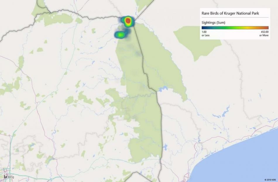Heatmap of birds rarely seen in South Africa but mostly seen in Kruger National Park