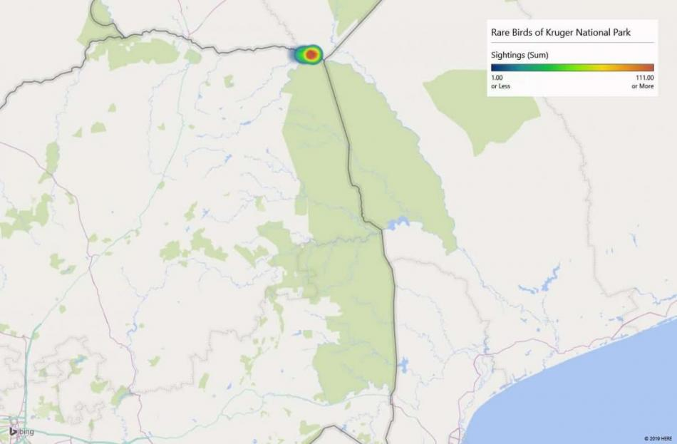 Heatmap of Racket-tailed Roller sightings in Kruger National Park