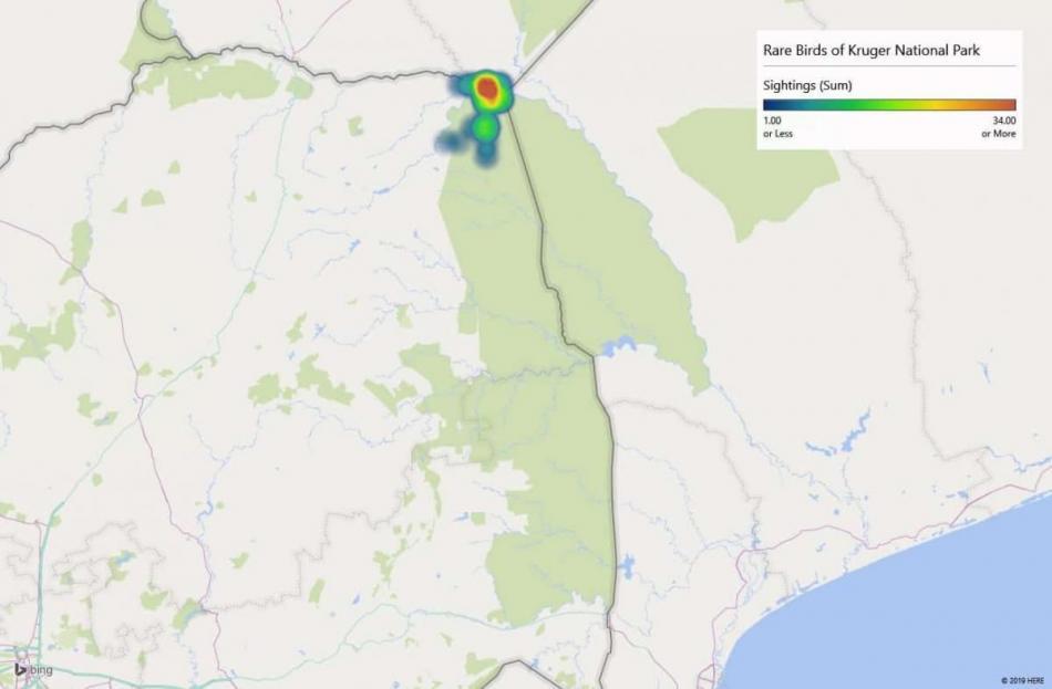 Heatmap of Senegal Coucalsightings in Kruger National Park