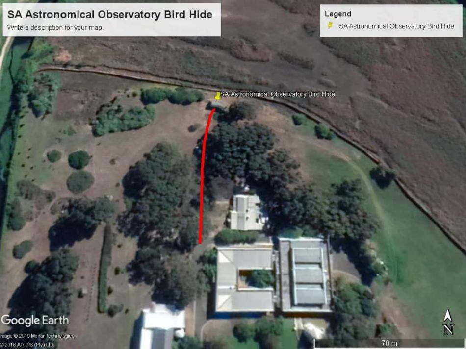 Map of SA Astronomical Observatory Bird Hide, Cape Town